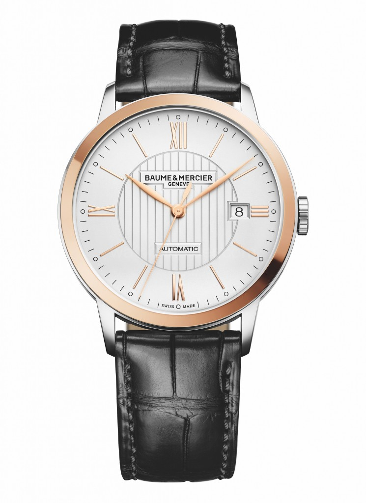 Baume & Mercier Classima Opaline Guilloché Dial Black Strap Watch-