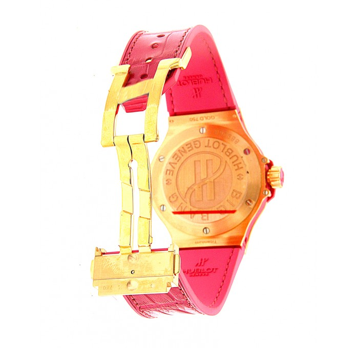 Hublot Big Bang Tutti Frutti White Dial Pink Alligator Strap Watch--