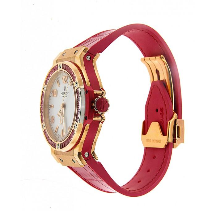 Hublot Big Bang Tutti Frutti White Dial Pink Alligator Strap Watch---