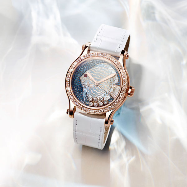 18K rose gold Copy UK Chopard Happy Fish Replica