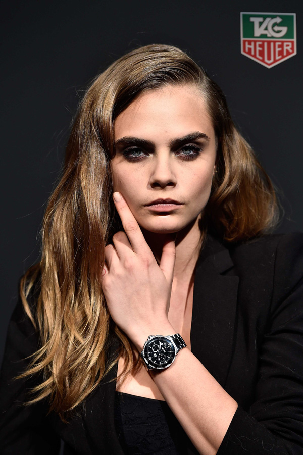 Cara Delevingne and black dial copy TAG Heuer Formula 1