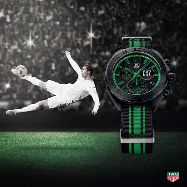 Cristiano Ronaldo and black bezel copy TAG Heuer Formula 1 CR7