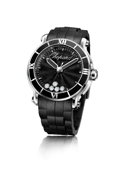 black strap fake Chopard Happy Sport