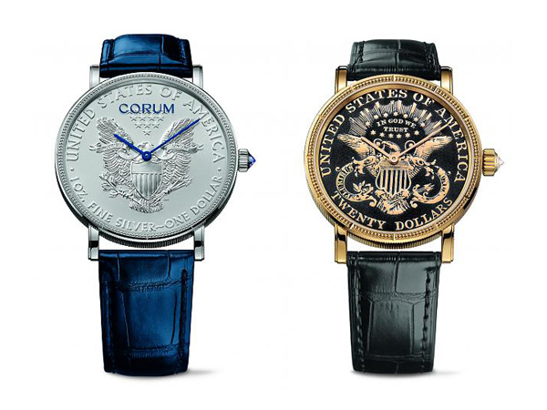 blue and yellow pointer copy Corum Heritage Coin