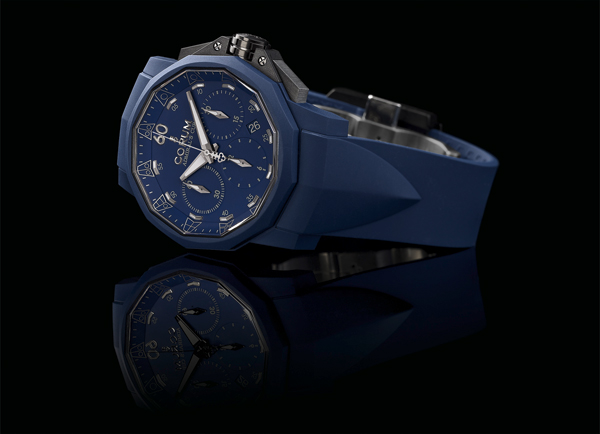 blue rubber strap fake Corum Admiral 's Cup Challenger 44 Chrono Rubber