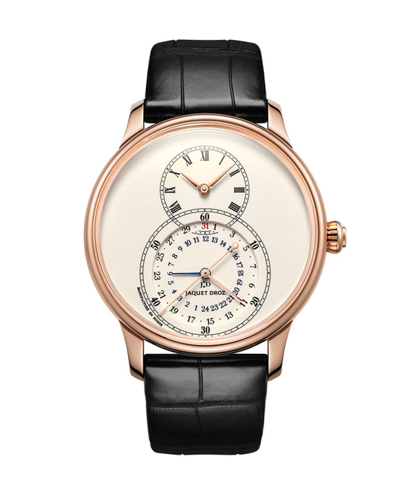 red gold case replica Jaquet Droz Grande Seconde Dual Time Ivory Enamel