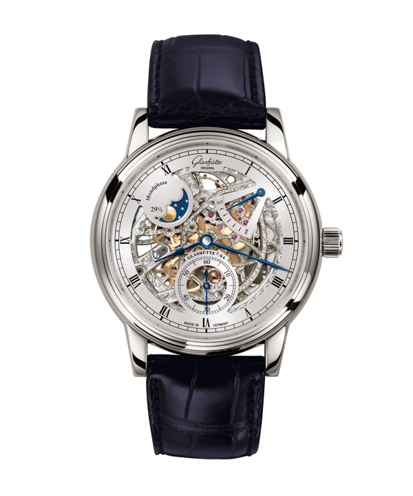 white gold case replica Glashütte Original Senator Moon Phase Skeletonized Edition