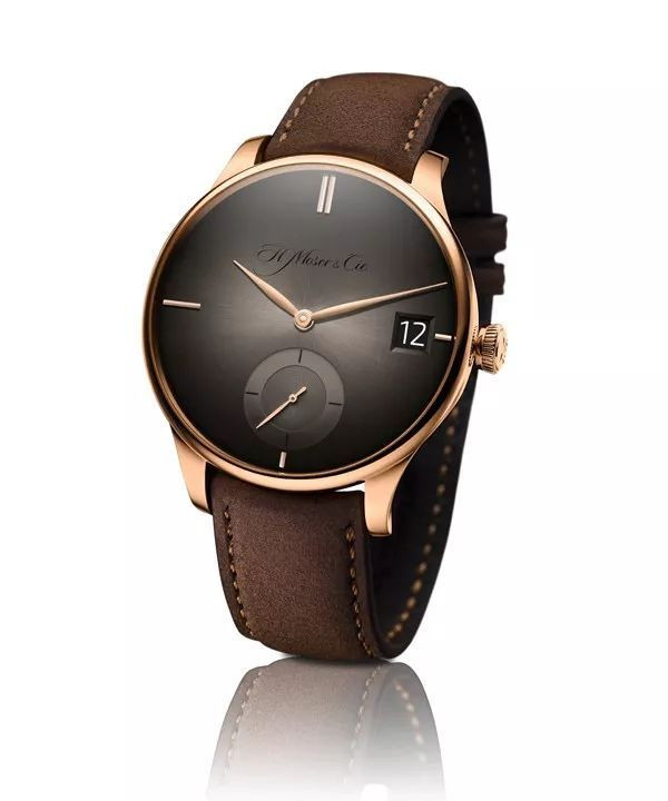 The hands of H. Moser & Cie. Venturer fake watches for sale echo materials of cases.