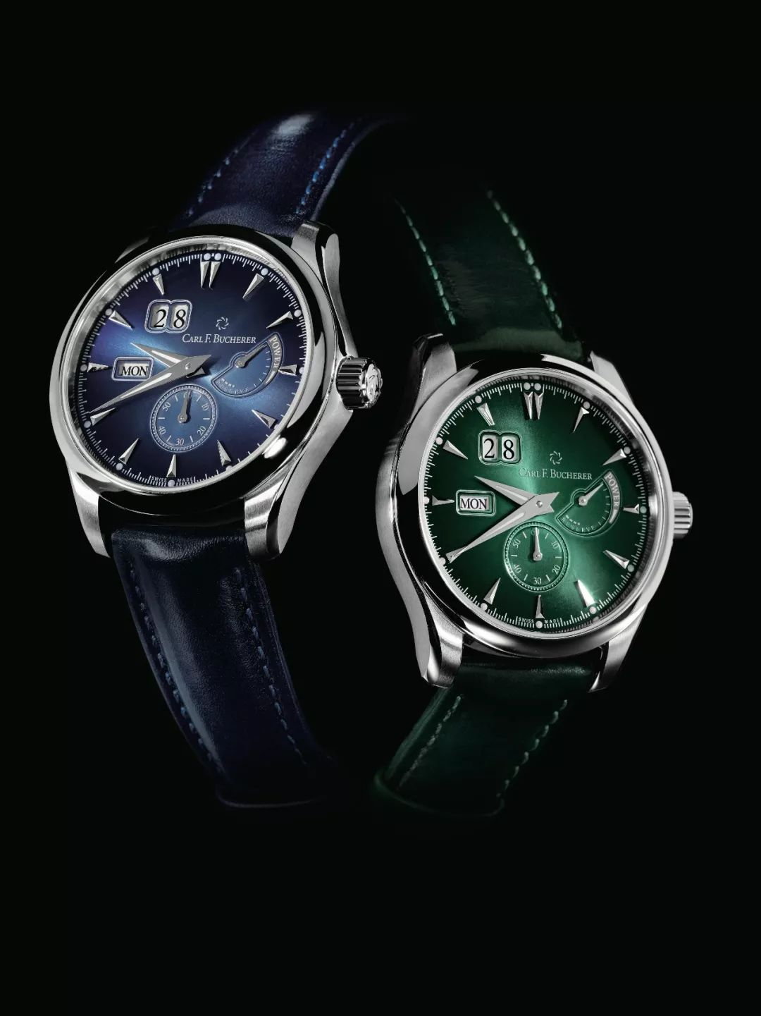 Blue or green colored fake watches are all attractive.