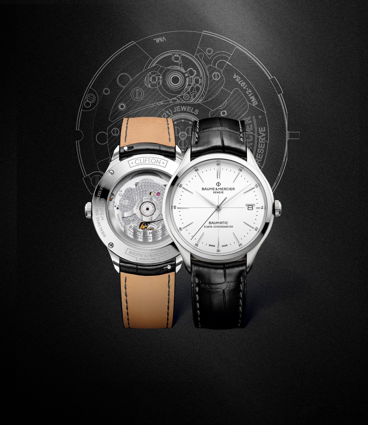 Baume & Mercier Clifton fake watches with white dials are in exquisite design.