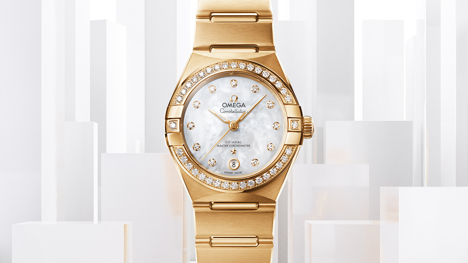 The gold replica watches have white mother-of-pearl dials.