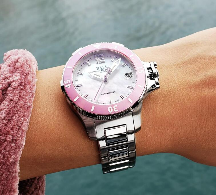 Swiss duplication watches are appealing with pink bezels.