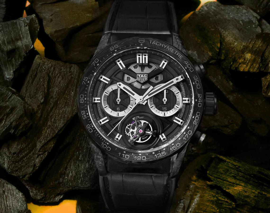The black dial fake watch has tourbillon.
